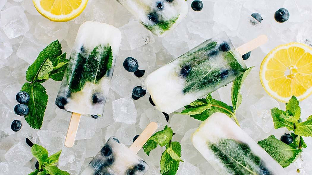 Blueberry mint ice pops