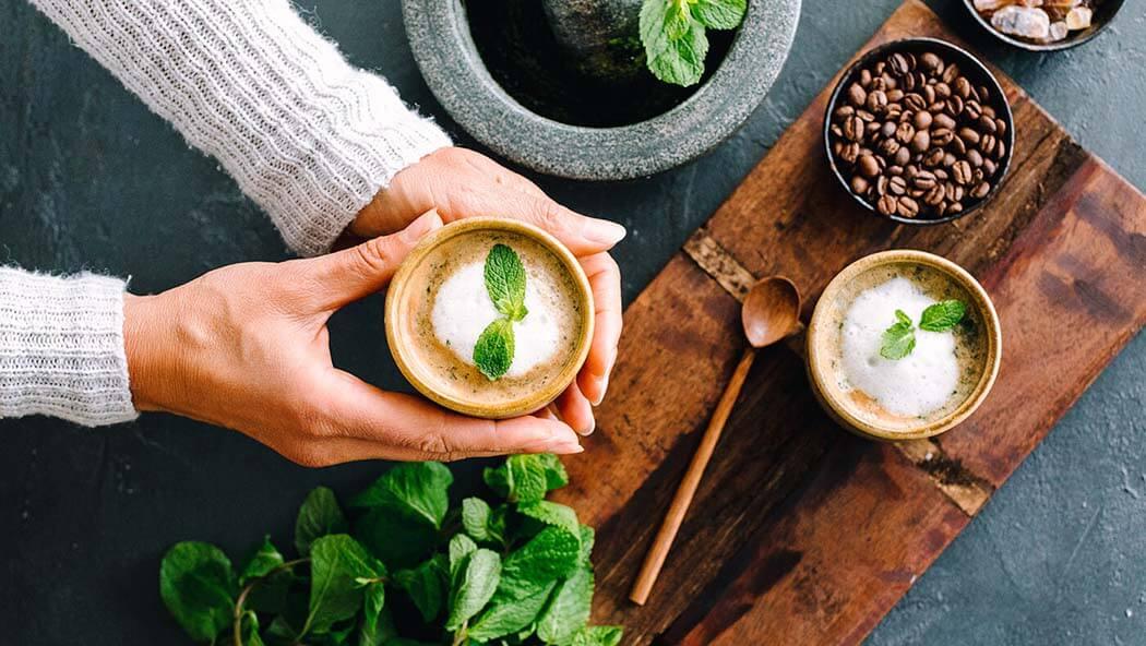 Pfefferminze Kaffee Latte